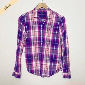 [AE] Purple Plaid Long Sleeve Button Down Shirt